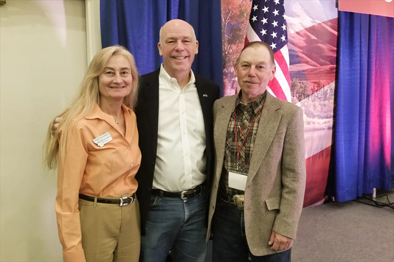 Visiting in Helena with Congressman Greg Gianforte and his wife Susan